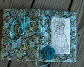 Fabric Journal Embroidered Gibson Girl on Natural Linen Teal  Rose Embellishment by Fabricartist21