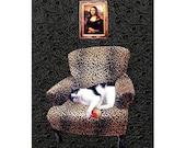 cat collage, mona lisa, leopard chair, cat art, pet portrait, cat portrait, black, home decor, custom art, tagt team - PetCollage