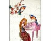collage singing bird girl tagt team sheet music piano pink shabby chic custom art pets