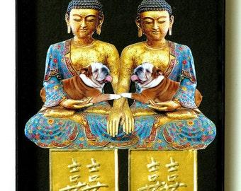 good karma bulldog dog pet collage custom mothers day buddha blue black kitschy fun home decor asian tagt team art