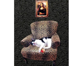cat collage mona lisa black leopard chair custom home decor pet portrait tagt team