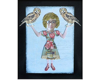 collage owl girl art