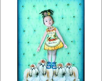 dog collage shih tzu girl child blue green art tagt team custom photography children