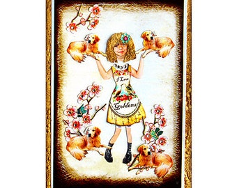 dog golden retriever girl collage teens art pet tagt team