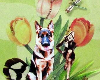 dog german shepherd collage portrait brown green marlena dietrich home decor shabby chic pet art