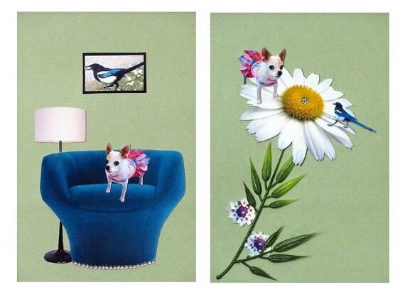 custom dog portrait,pet collage, dog art,chihuahua portrait,home decor,tagt team,animal art,turquoise,shabby chic