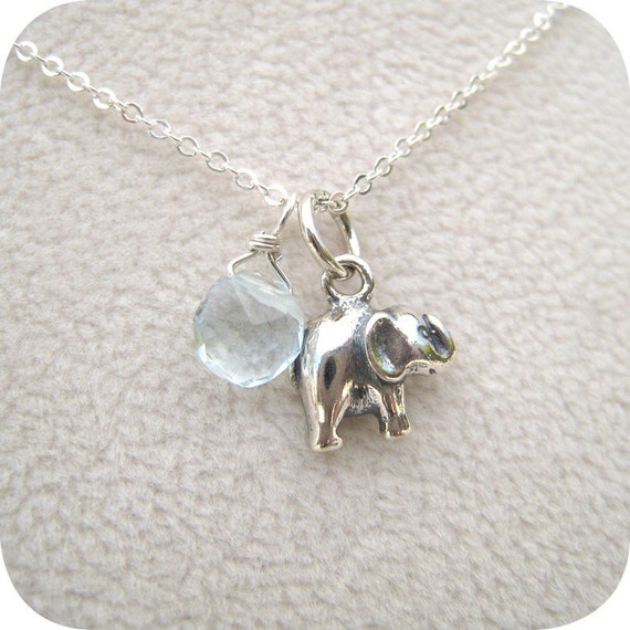 Teeny Tiny Baby Elephant Sterling Silver Charm Necklace
