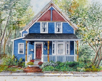 Custom House Portait Watercolor