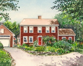 Custom Watercolor House Portrait Made to Order by Renee Leone