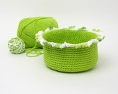 Crocheted Basket, lime green, ruffled edge, organizer, home organization container