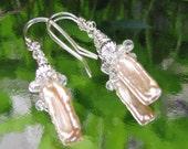 Natural Pink Biwa Pearl earrings