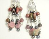 Earrings Pink Rhodonite and Pearl Chandeliers