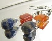 Blue Jean Baby Earrings Carnelian and Sodalite Gemstones on Sterling Silver On Sale