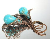 Turquoise Filigree Blossom Earrings