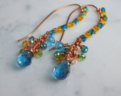 Summer Turquoise Earrings Swarovski Crystal Wire Wrap Copper Fashion