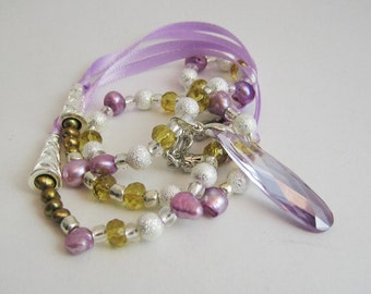 Necklace Cleopatra's Purple CZ and Pearls