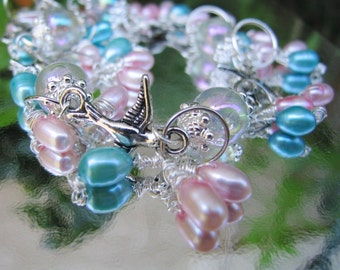 Birds and Pearls Silver Charm Bracelet