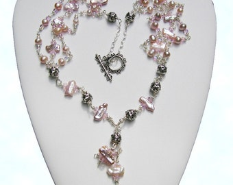 Mauve Biwa Pearls and Silver Necklace