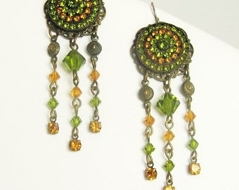 Citrine and Emerald Vintage Earrings