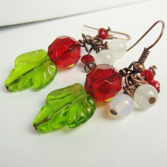 Kissed Under the Mistletoe Hand made Earrings
