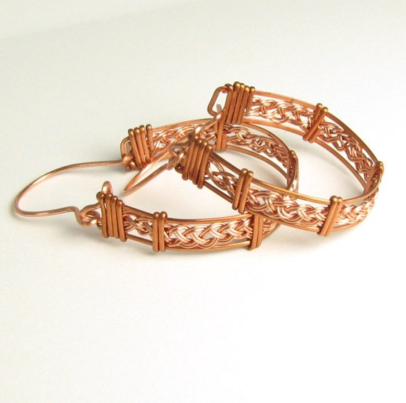 Captured- Woven Copper Earrings hand made