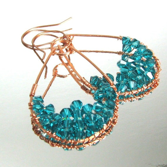 Fandango  Earrings Turquoise Crystals and Copper wire wrapped [AGLE101]