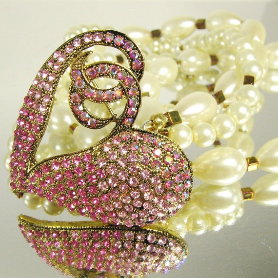 Pink Heart and Pearls Necklace