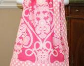 CUSTOM LISTING for Abbie  furrow Pillowcase dress SALE was 19.99 now 15.00 toddler Ooh la la pink white polka dot