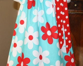 lil plain jane Pillowcase dress Michael Miller red, white , aqua blue 3 mos.  Thru  4T  ..... Blake and Bailey
