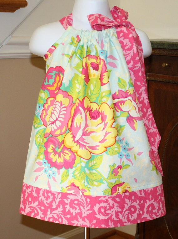 baby girls Pillowcase dress Heather Bailey Pop Garden in Ice blue, pink, yellow baby, toddler dress, girls dress BlakeandBailey