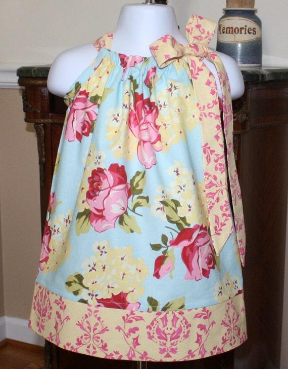 Pillowcase dress girls, Savon rose blue, pink, yellow, baby, toddler, 2t, 3t, 4t, Blake and Bailey