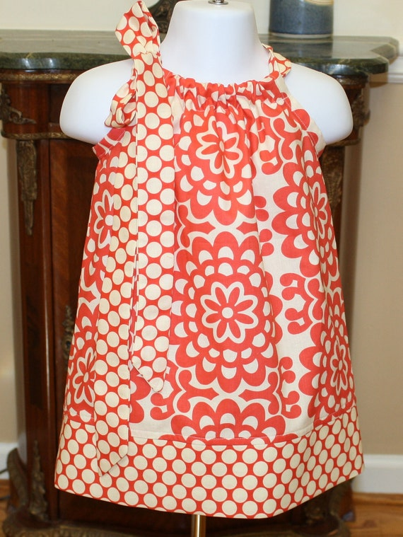 Girls Pillowcase dress Amy Butler Wallflower Red, polka dot,  toddler dress 3, 6, 9, 12, 18 mo 2t, 3t, 4T
