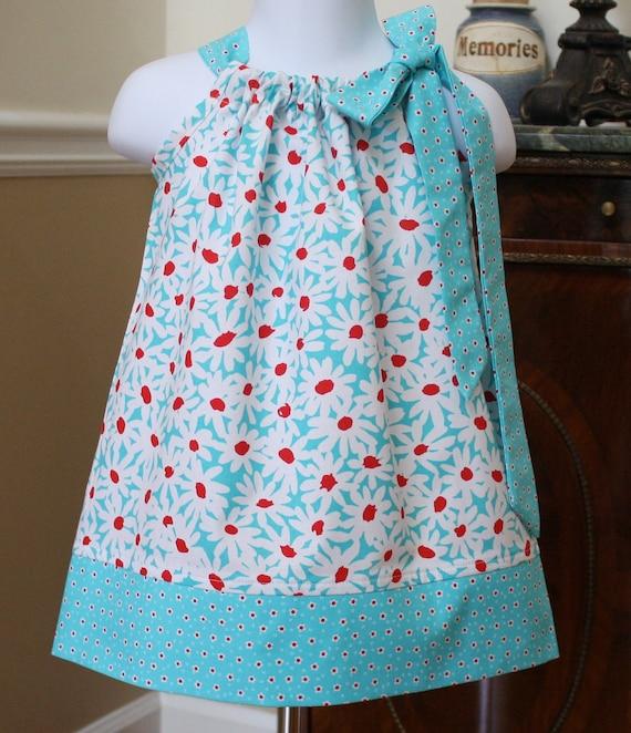CUSTOM LISTING for littlesproutshawaii girls Pillowcase dress Michael Miller aqua blue red white daisy