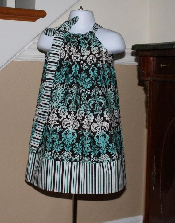 SALE 15.00 girls Pillowcase dress damask Aqua blue chocolate brown white 0 thru 2t, 3t, 4t, 5T