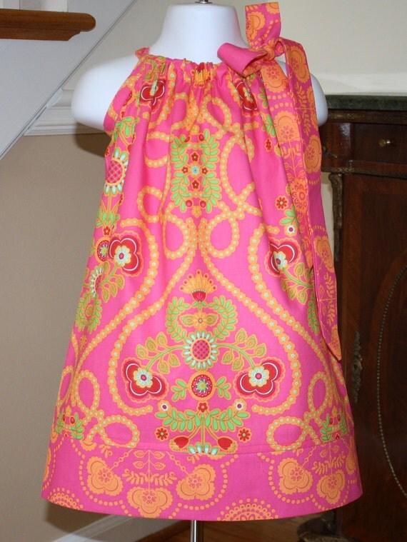 Girls Pillowcase dress pillowcase dresses Easter dress toddler Ooh la la sherbert pink orange Michael Miller 3 mos.  Thru  4T
