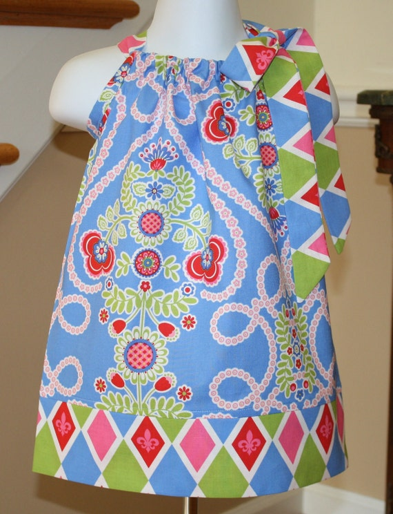 childrens Pillowcase dress Easter dresses toddler Ooh la la  blue pink green Michael Miller by blake and bailey