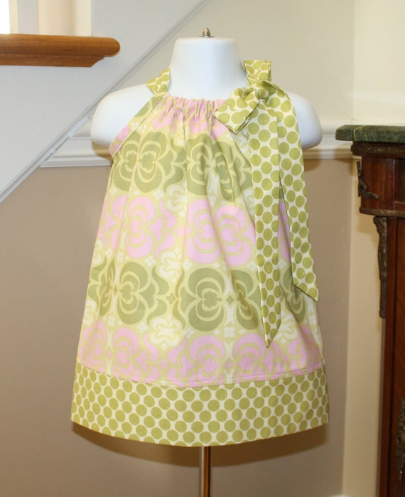 midwest SALE Pillowcase dress girls, toddler, baby, girls dress, amy butler, maze pink sage green blakeandbailey