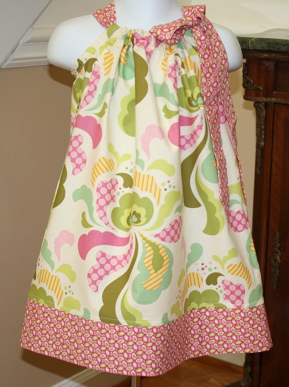 fresh cut SALE pillowcase dress girls baby toddler heather bailey fabric ivory, pink, green, yellow 3 mos to 4T