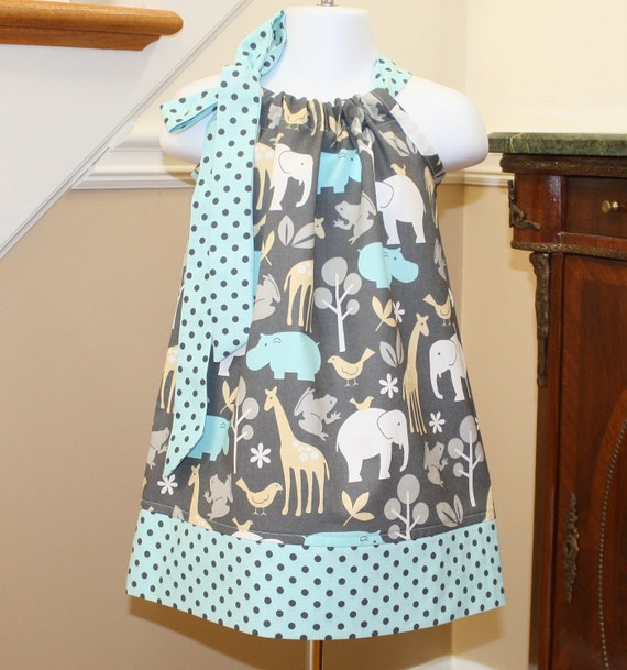 zoo zoology Easter Pillowcase Dress toddler dresses michael miller blue girls baby dresses by blakeandbailey