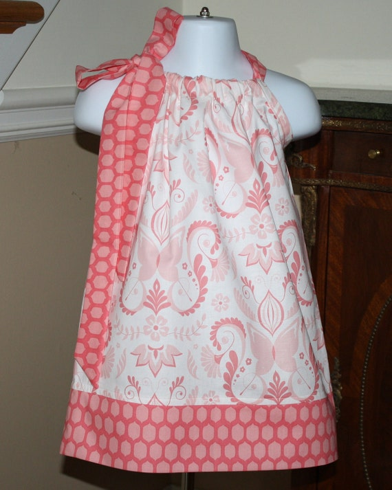 butterfly pillowcase dress girls baby toddler dress michael miller fabric pink white 3 mos to 4T