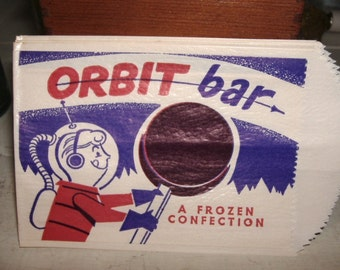 SALE. Retro 50's Orbit Bar Ice Cream Wrapper. Space Age Graphics. Nifty Fifties.