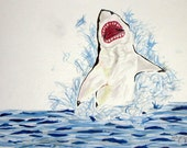 Max the Whining Shark Original Watercolor Painting