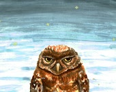 Percy the Grumpy Owl 8x12 PRINT - Oops Sale -