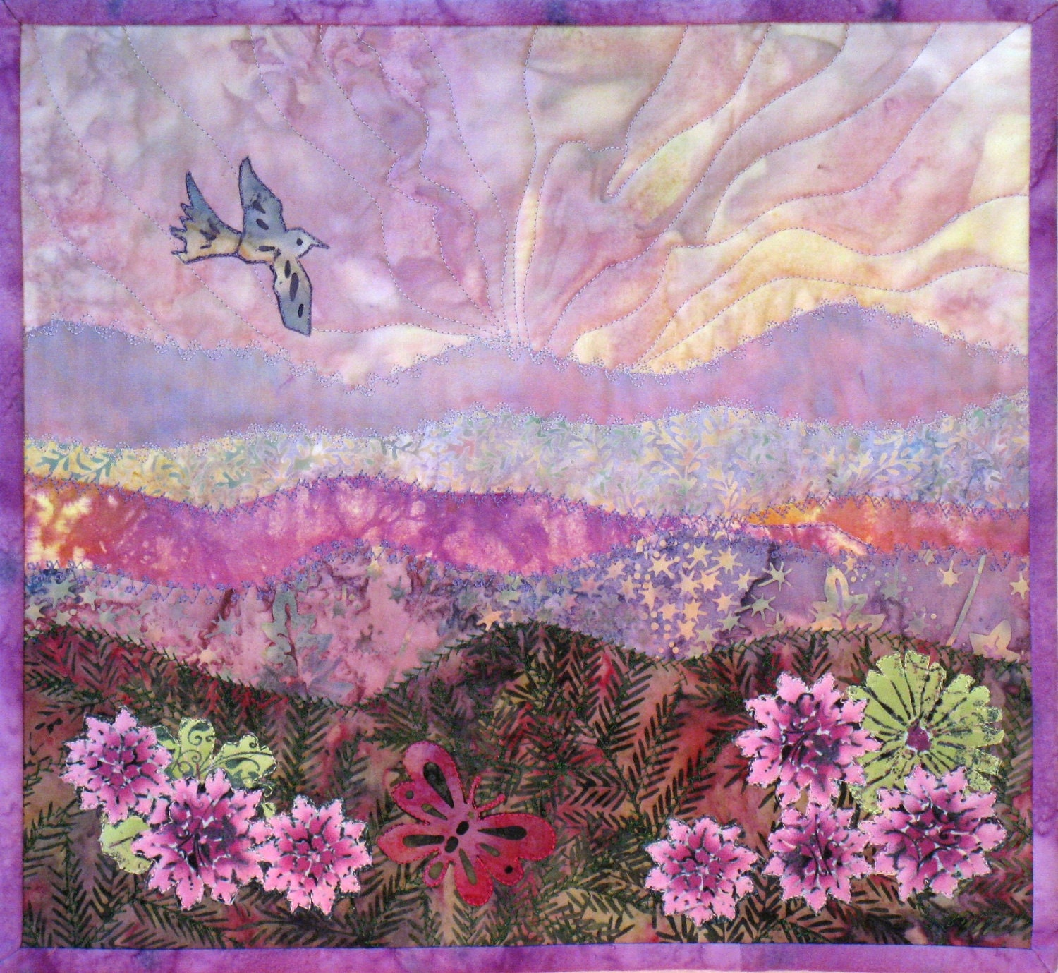 Landscape Quilt Patterns Kits : Fabric Kit for Mountain Meadow landscape quilt wall hanging