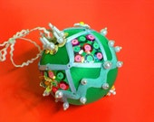 Laila Beaded Green Satin Ornament