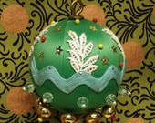 Quinty - Beaded Green Satin Ornament