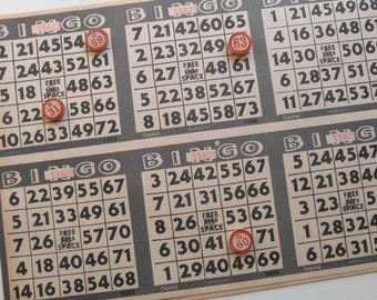 Uncut Vintage Bingo Sheets, Bingo Paper, 6 Up Deadstock Bingo Paper Sheets