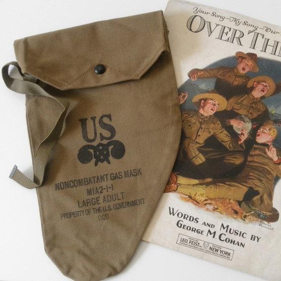 WW2 Gas Mask Bag, New Old Stock, U.S. Military Gas Mask Bag, Military Bag