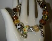 Pandora knock-off - Metal and Glass Bracelet (B5E)