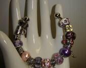 Pandora knock-off - Metal and Glass Bracelet (B7E)